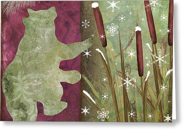 Christmas Art Greeting Cards - Cabin Christmas III Greeting Card by Mindy Sommers