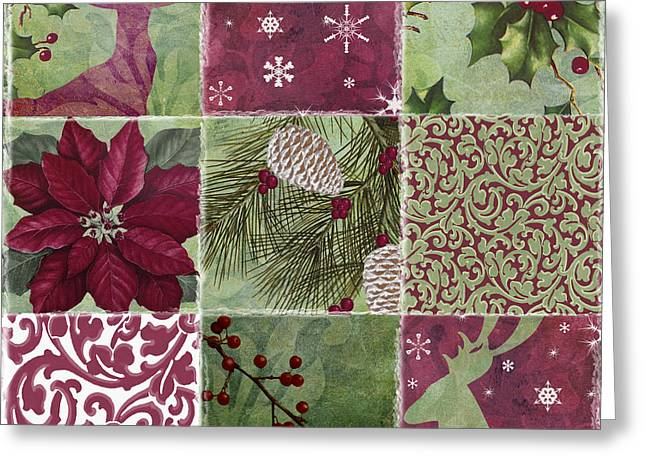Christmas Art Greeting Cards - Cabin Christmas Patchwork Greeting Card by Mindy Sommers