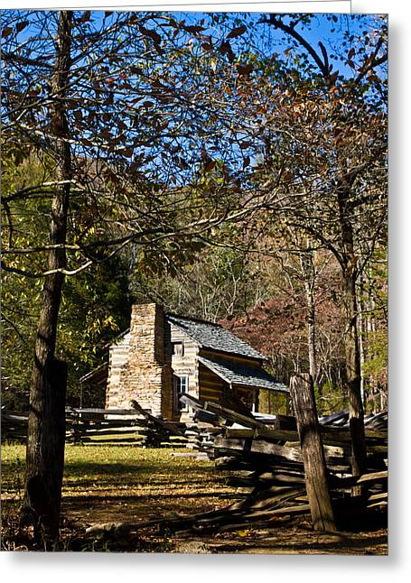 Festivities Greeting Cards - Cabin in Cades Cove and Rail Fence Greeting Card by Douglas Barnett