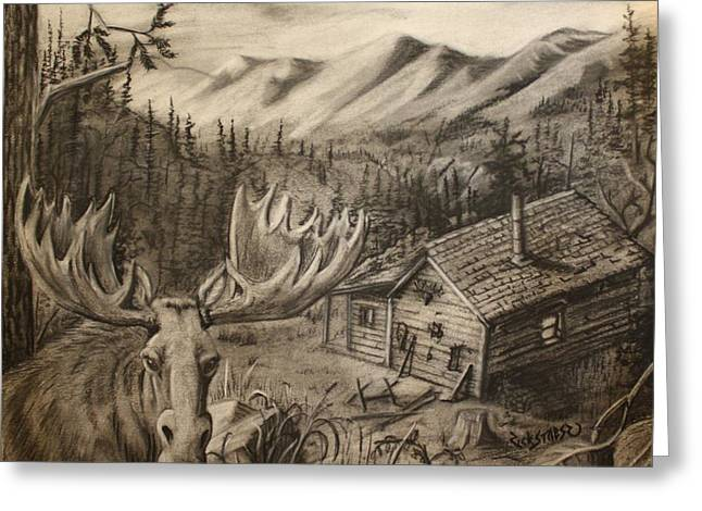 Hunting Cabin Mixed Media Greeting Cards - Cabin in Moose Valley Greeting Card by Rick Stoesz