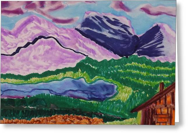 Mountain Cabin Mixed Media Greeting Cards - Cabin in the Mountains Greeting Card by Don Koester