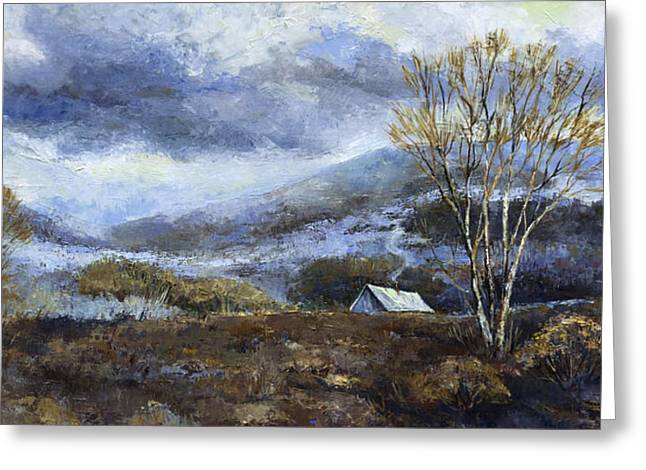 Mountain Cabin Paintings Greeting Cards - Cabin in the Mountains Greeting Card by Peggy Wilson