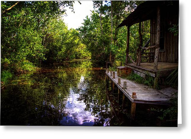 Sun Porches Greeting Cards - Cabin In The Swamp Greeting Card by Greg Mimbs