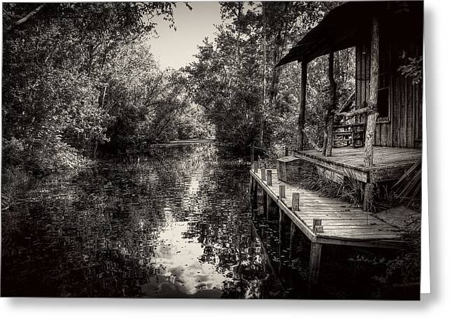 The Swamp Greeting Cards - Cabin In The Swamp In Black and White Greeting Card by Greg Mimbs