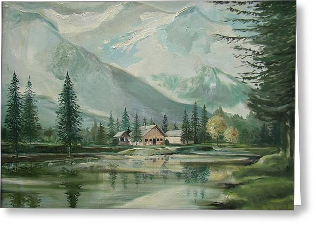 Smokey Mountains Paintings Greeting Cards - Cabin In The Valley Greeting Card by Charles Roy Smith
