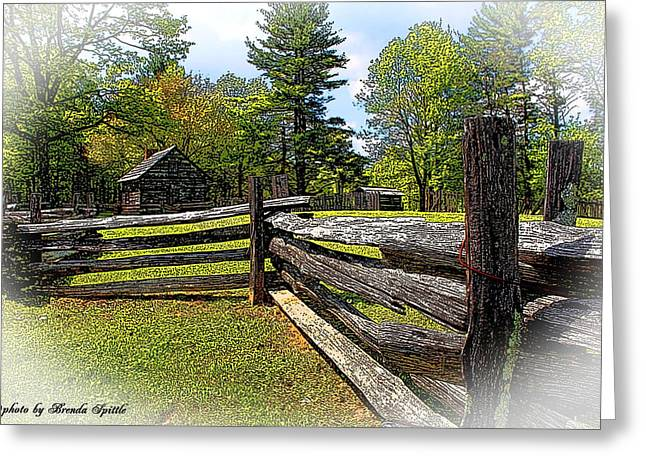 Log Cabins Greeting Cards - Puckets Cabin Greeting Card by Brenda  Spittle