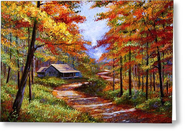 Most Popular Paintings Greeting Cards - Cabin In the Woods Greeting Card by David Lloyd Glover