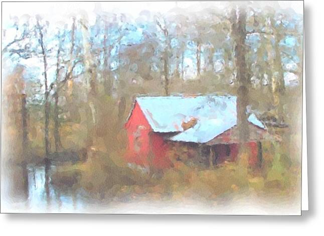 Cabin In The Woods Greeting Card by Janet Pugh