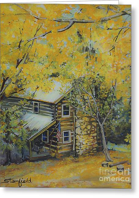 Smokey Mountains Paintings Greeting Cards - Cabin in the woods Greeting Card by Johnnie Stanfield