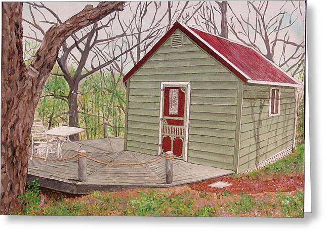 Screen Doors Paintings Greeting Cards - Cabin in the Woods Greeting Card by Kevin Callahan