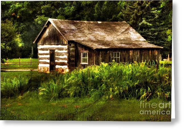 Cabin In The Woods Greeting Card by Lois Bryan