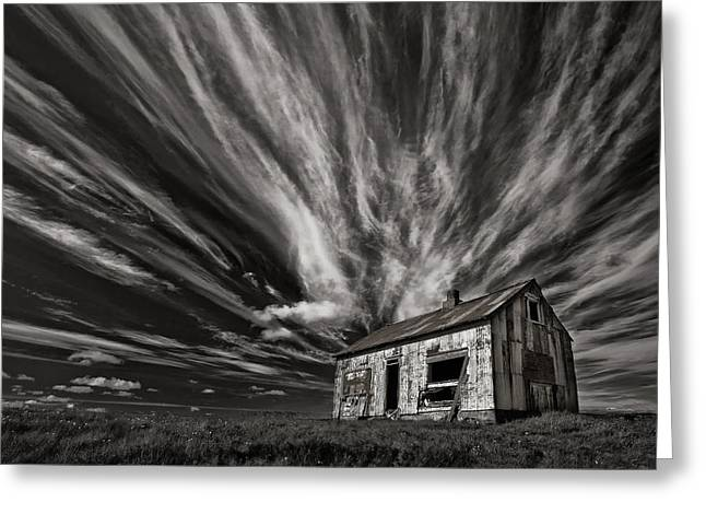 Cabin Greeting Cards - Cabin (mono) Greeting Card by Thorsteinn H. Ingibergsson