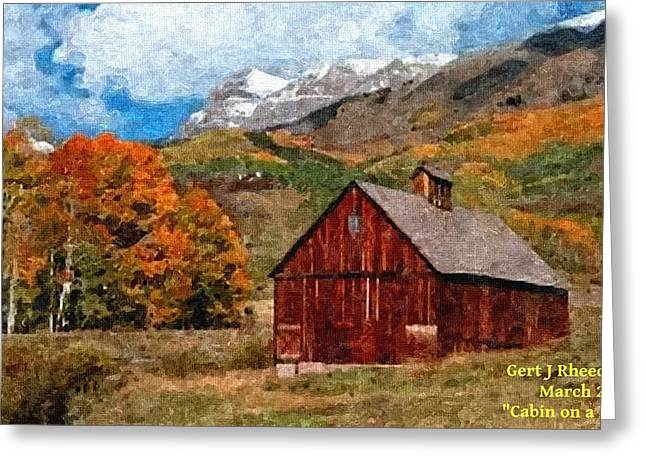 Jewelry Pastels Greeting Cards - Cabin on a Hill H a Greeting Card by Gert J Rheeders