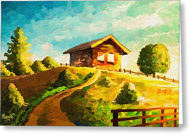 Wooden Building Greeting Cards - Cabin on Hill  Greeting Card by Anthony Mwangi