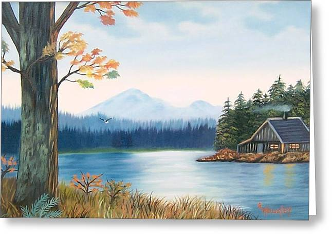 Ruth Housley Greeting Cards - Cabin on the River Greeting Card by Ruth  Housley
