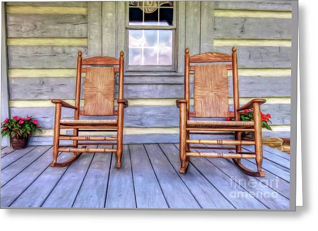 Cabin Porch Greeting Card by Marion Johnson