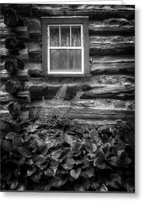 Cabin Window In Black And White Greeting Card by Greg and Chrystal Mimbs