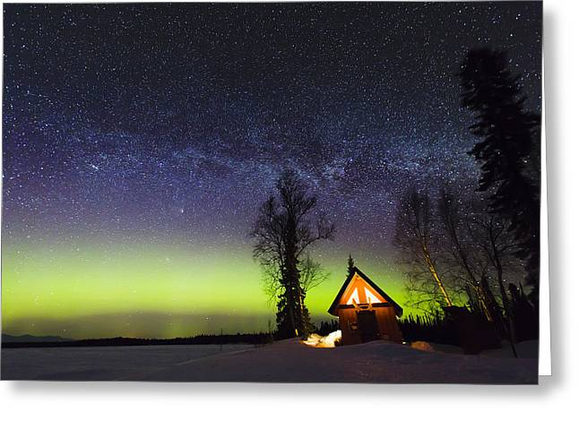 Cabins Glow Greeting Card by Ed Boudreau