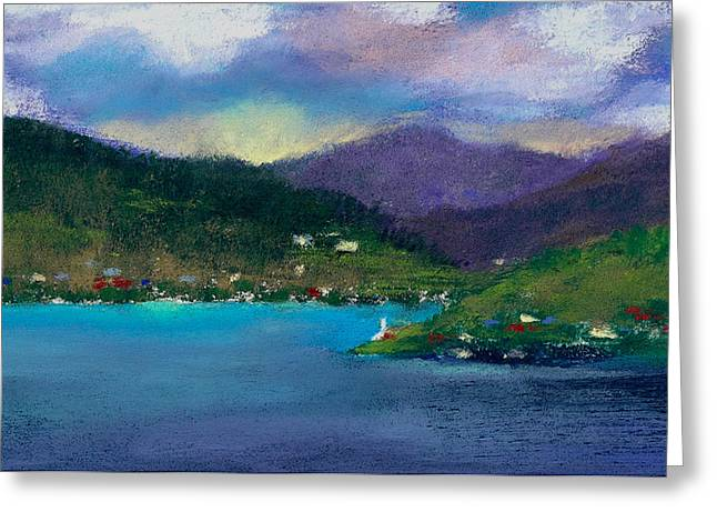 Blue Green Water Pastels Greeting Cards - Cabins on the Lake Greeting Card by David Patterson