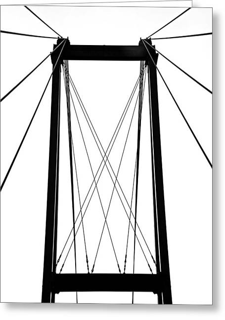 Geometric Style Greeting Cards - Cable Bridge Abstract Greeting Card by Debbie Oppermann