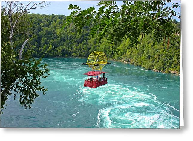 Rapids Pastels Greeting Cards - Cable Car over Whirlpool Greeting Card by John Malone