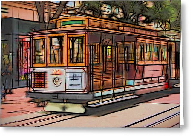Alcatraz Greeting Cards - Cable Car San Francisco Greeting Card by Michael Moriarty