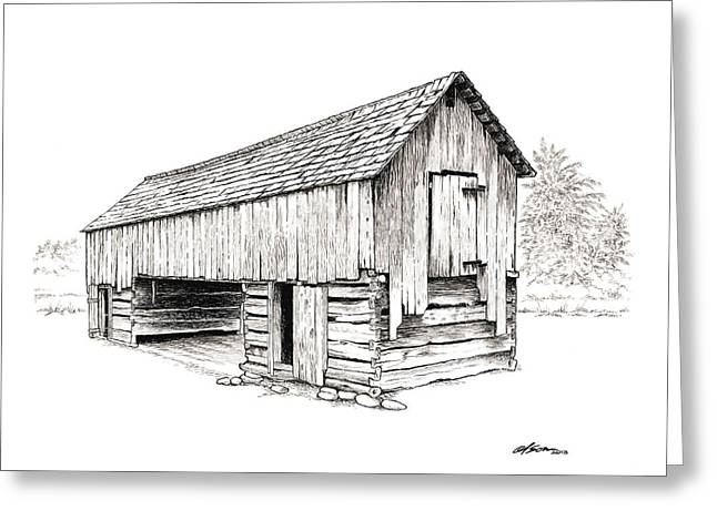 Cable Mill Barn Greeting Card by Dave Olson