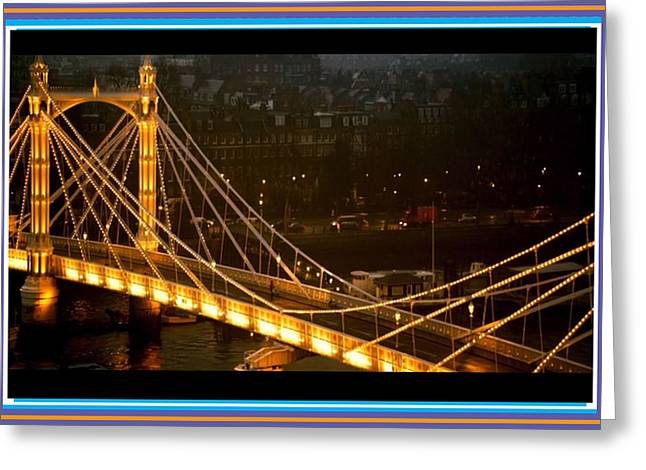 San Francisco Bay Greeting Cards - Cable-stayed Gold Sparkle Bridge at night in London Greeting Card by Navin Joshi