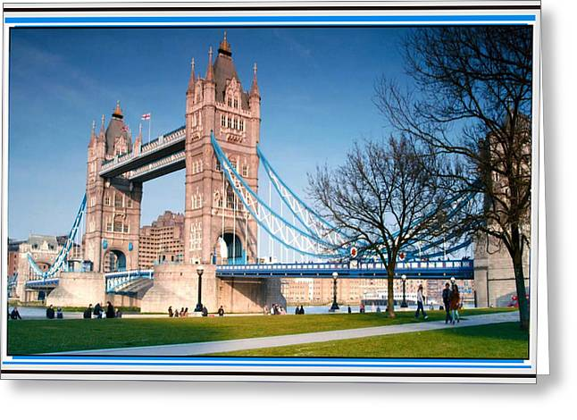 Bay Bridge Mixed Media Greeting Cards - Cable-stayed Walk way over bridge in London Greeting Card by Navin Joshi