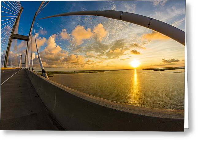 Cables Bend At Sunset Greeting Card by Chris Bordeleau