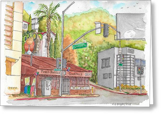 Cabo Cantina, Sunset Blvd And Sweetzer Ave., West Hollywood, California Greeting Card by Carlos G Groppa