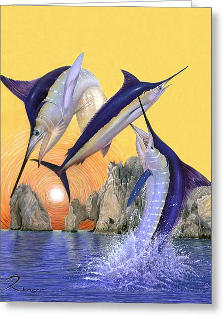 Striped Marlin Greeting Cards - Cabo San Lucas Greeting Card by Rick Bogert