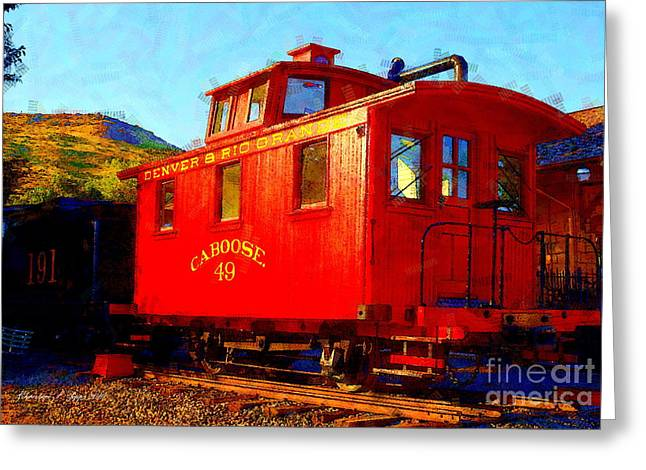Railyard Greeting Cards - Caboose 49 Greeting Card by Christine S Zipps