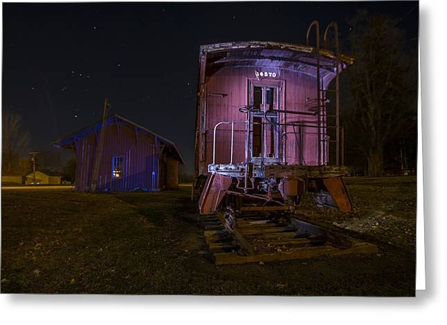 Caboose Greeting Cards - Caboose and depot in rural Illinois one starry night Greeting Card by Sven Brogren