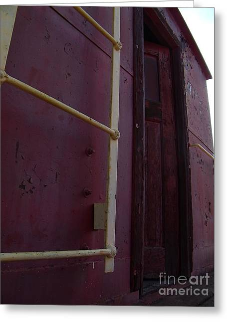 Caboose Photographs Greeting Cards - Caboose Door Greeting Card by The Stone Age