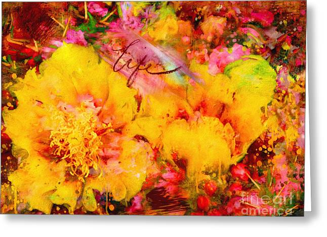 Abstract Digital Digital Greeting Cards - Cacti Crabapple Blossoms Greeting Card by Anna Surface