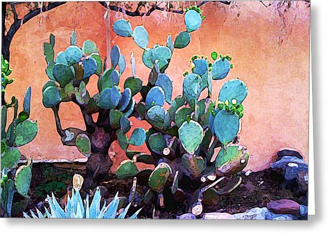 Santa Fe Greeting Cards - Cactus and Adobe Greeting Card by Charlie Spear