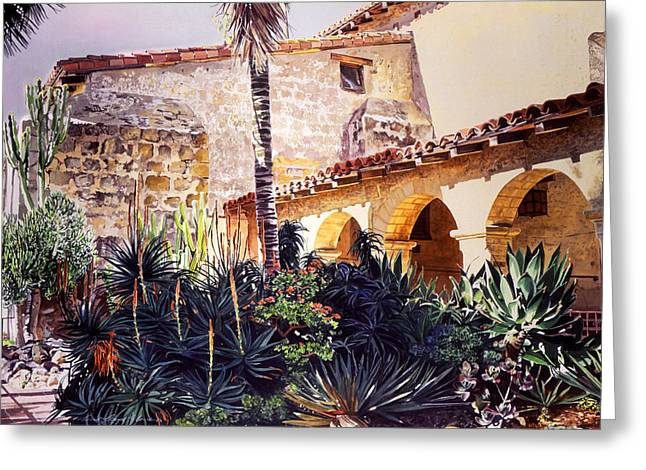 Historical Site Greeting Cards - Cactus Courtyard Mission Santa Barbara Greeting Card by David Lloyd Glover
