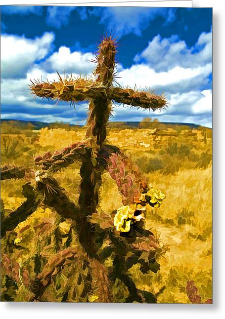 Cactus Cross Greeting Card by Lou  Novick