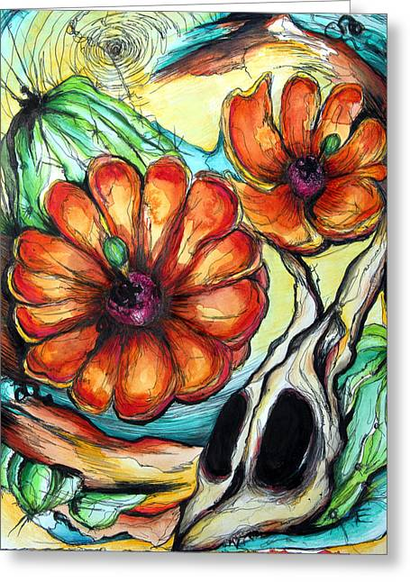 Canadian Drawings Drawings Greeting Cards - Cactus Flowers Greeting Card by Erica Seckinger