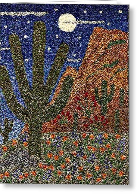 Primitive Tapestries - Textiles Greeting Cards - Cactus In The Moonlight Greeting Card by Jan Schlieper