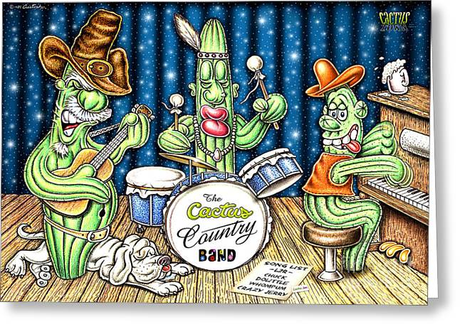 Country Music Town Greeting Cards - Cactus Jam Greeting Card by Cristophers Dream Artistry