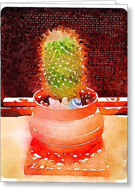 Plant Ceramics Greeting Cards - Cactus Planter Waterlogue Greeting Card by Evelyn Taylor Designs