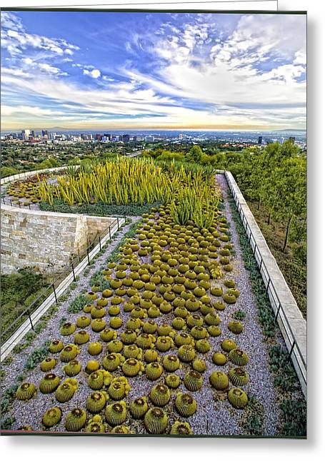 Getty Greeting Cards - Cactus Runway at The Getty Greeting Card by Lynn Andrews