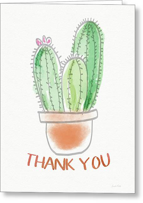 Cactus Thank You - Art By Linda Woods Greeting Card by Linda Woods