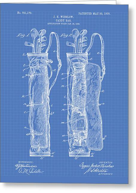 Technical Digital Art Greeting Cards - Caddy Bag 1905 Patent Art - Blueprint Greeting Card by Ray Tawer