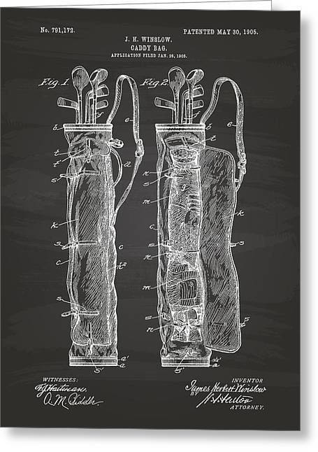 Technical Digital Art Greeting Cards - Caddy Bag 1905 Patent Art - Chalkboard Greeting Card by Ray Tawer