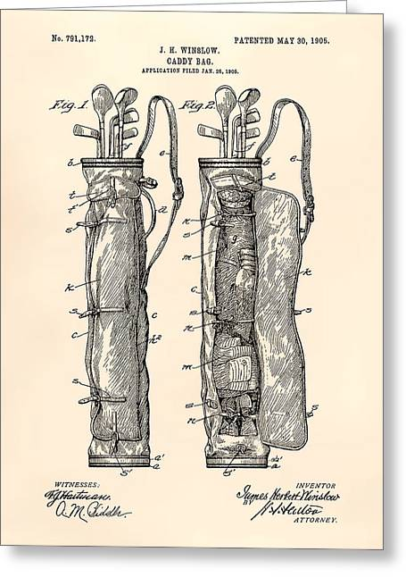 Technical Digital Art Greeting Cards - Caddy Bag 1905 Patent Art - Old Peper Greeting Card by Ray Tawer