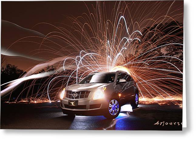 Caddy Craziness Greeting Card by Andrew Nourse