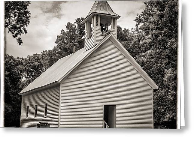 Cades Cove Primitive Baptist Church - Toned Bw W Border Greeting Card by Stephen Stookey